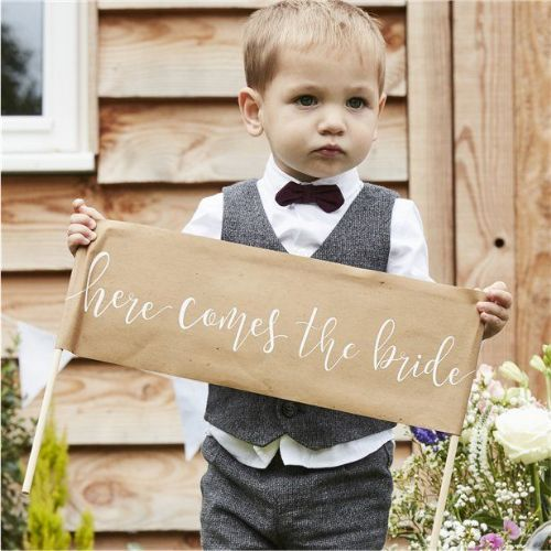 Rustic Country 'Here Comes The Bride' Sign (each)
